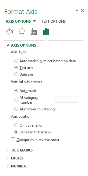 Axis options in Excel 2013