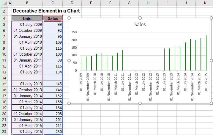 Column chart with gaps in Excel 2016