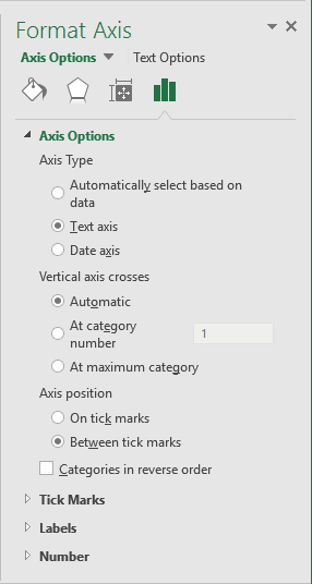 Axis options in Excel 2016