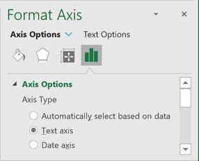 Axis options in Excel 365