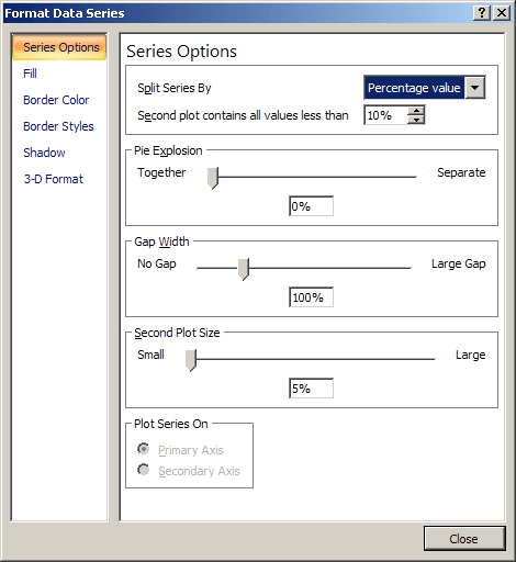 Format Data Series in Excel 2003