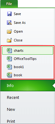 Recent workbooks in Excel 2010