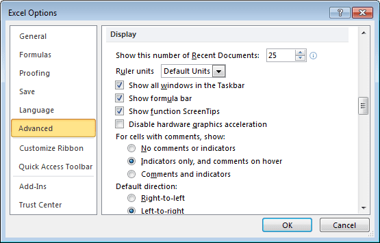 Advanced Excel 2010 Options