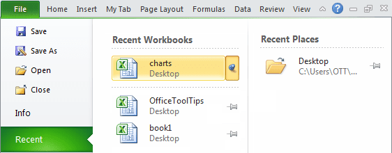 Pin the workbook in Excel 2010
