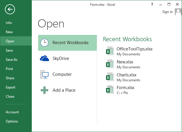 File Recent workbooks in Excel 2013