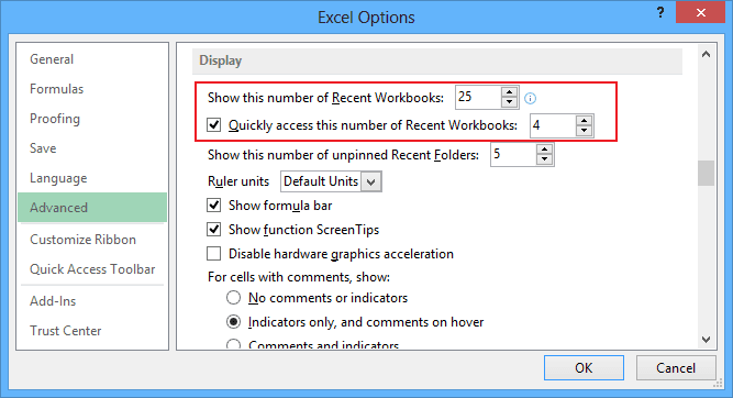 Advanced Excel 2013 Options