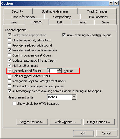 Word 2003 Options