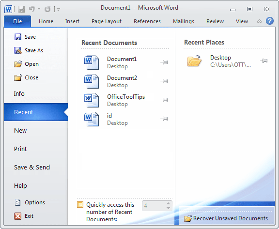 File Recent documents in Word 2010