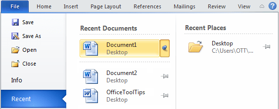 Pin the document in Word 2010