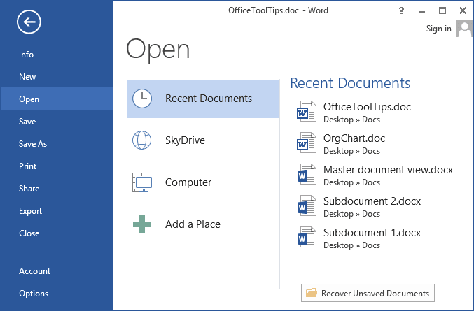 File Recent documents in Word 2013