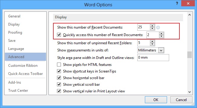 Advanced Word 2013 Options