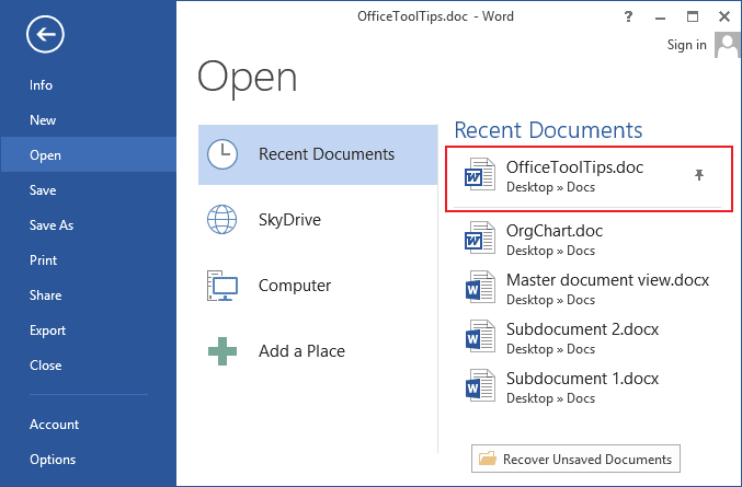 Pin the document in Word 2013