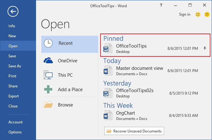 Pin the document in Word 2016
