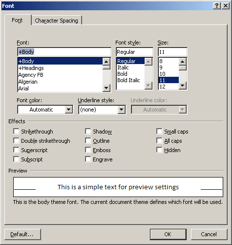 Font in Word 2003