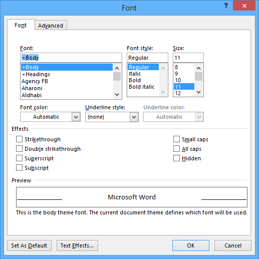 Font in Word 2013