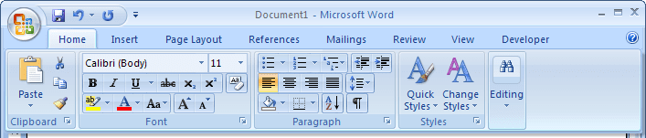 Display Minimized Ribbon in Word 2007