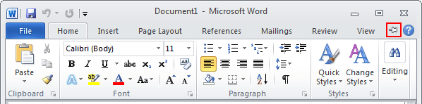 Expand Minimized Ribbon button Word 2010