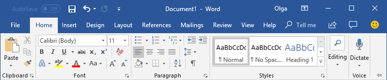 Display Minimized Ribbon Word 2016