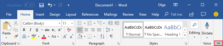 Expand Minimized Ribbon button Word 2016