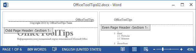 Example of different headers and footers on odd and even pages Word 2013