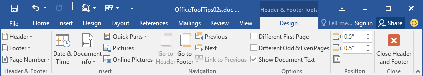 Header and Footer Tools in Word 2016