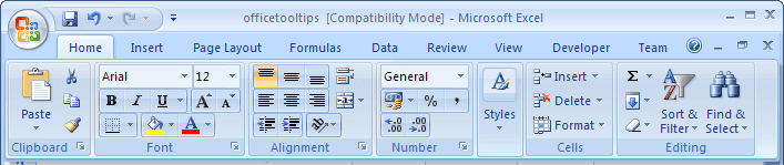 Display Minimized Ribbon in Excel 2007