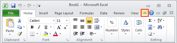 Minimize Ribbon button Excel 2010