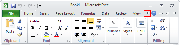 Expand Minimized Ribbon button Excel 2010
