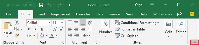 Minimize Ribbon button Excel 2016