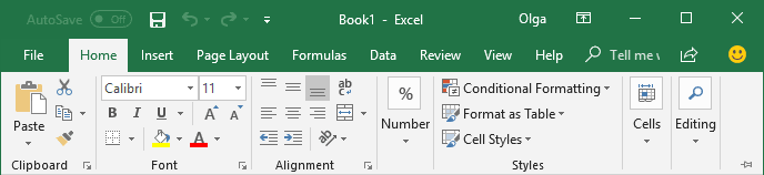 Display Minimized Ribbon Excel 2016