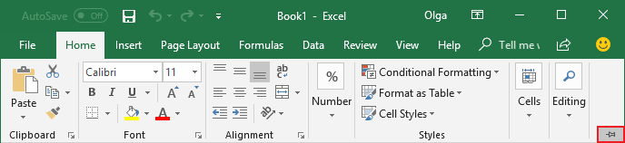 Expand Minimized Ribbon button Excel 2016
