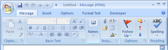 Display Minimized Ribbon in Outlook 2007