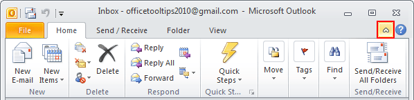 Minimize Ribbon button Outlook 2010