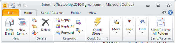 Display Minimized Ribbon Outlook 2010