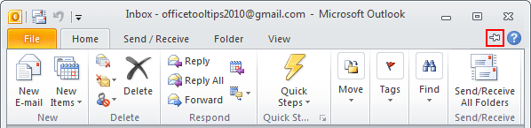 Expand Minimized Ribbon button Outlook 2010