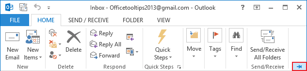 Expand Minimized Ribbon button Outlook 2013