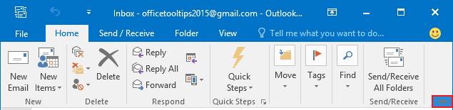 Expand Minimized Ribbon button Outlook 2016