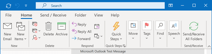 Display Minimized Ribbon in Outlook 365