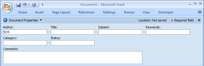 Properties bar in Word 2007