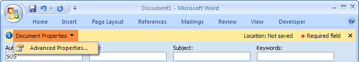 Document properties in Word 2007