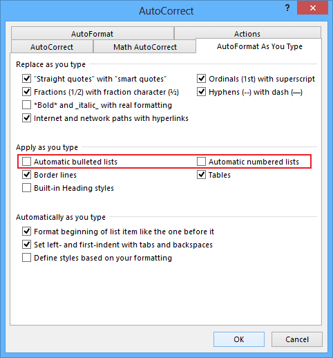 AutoCorrect in Word 2013