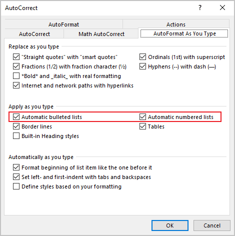 AutoCorrect in Word 365