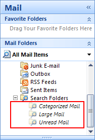 Search Folders in Outlook 2007