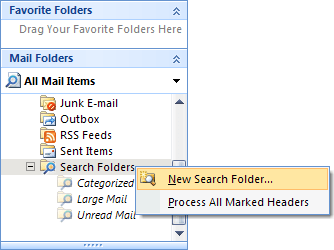 popup New Search Folders Outlook 2007