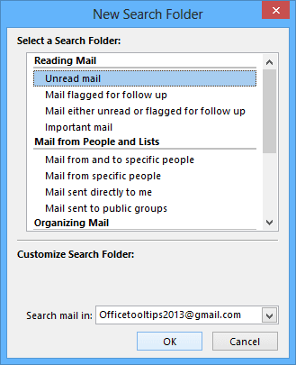 New Search Folders