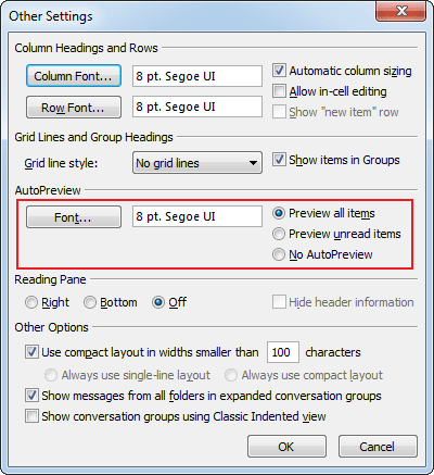 Advanced View Settings Preview in Outlook 2010