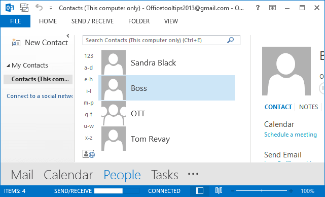 Contacts Outlook 2013