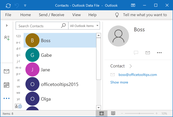 Contacts Outlook 365