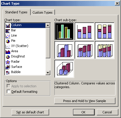 Chart Type in Word 2003