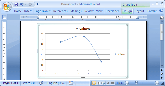 Chart Tools in Word 2007